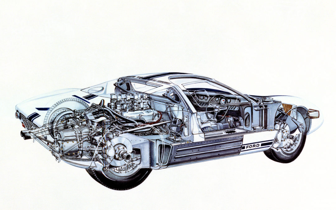The Ford GT40 looks better as an engineering cutaway